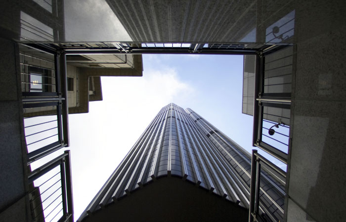 Annual report photographer took exterior of building in City of London looking up