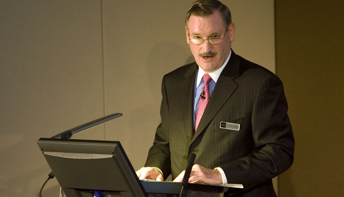 PR Photograph of Dick Evans of Rio Tinto speaking at their results presentation