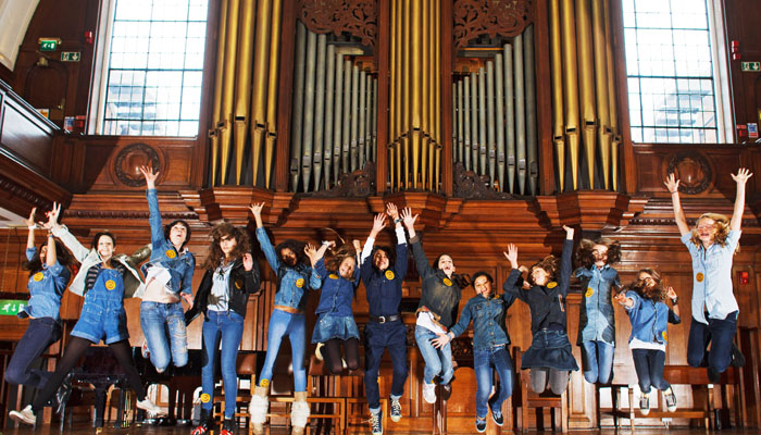 Photograph of children at St Pauls Girls School for Jeans for Genes Day