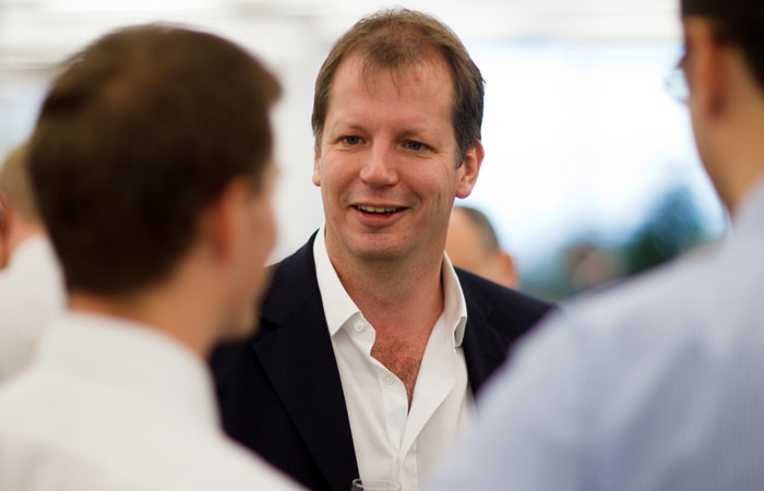 Corporate Photograph of Betfair director on trading floor at Morgan Stanley, Canaray Wharf during IPO