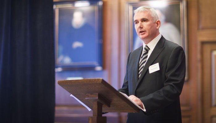Photograph of speaker at event at Gray's Inn