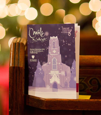 Photograph of the Programme for Carol Service at St Paul's Knightsbridge, London