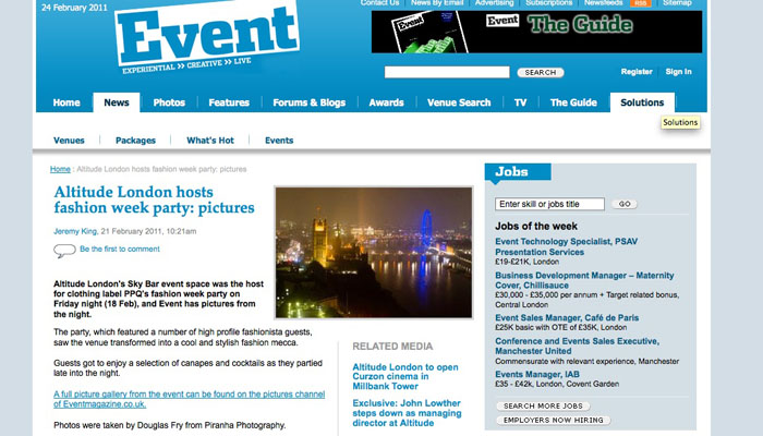 Piranha Photography Photographs on Event Magazine Website of Party