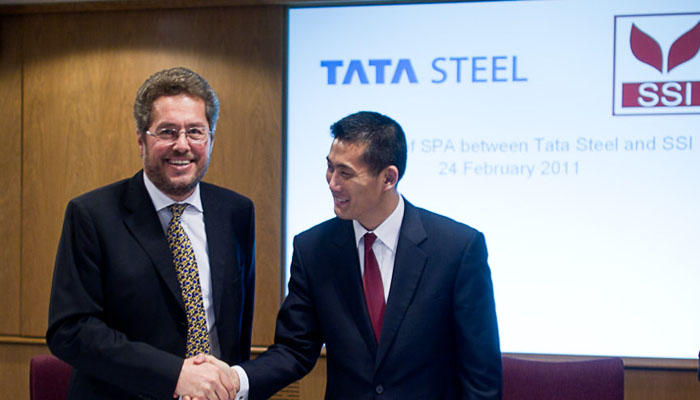 Photograph of TATA Steel Signing Deal with SSI