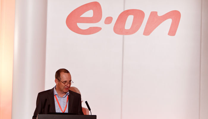 Photograph of E.ON conference speaker in London