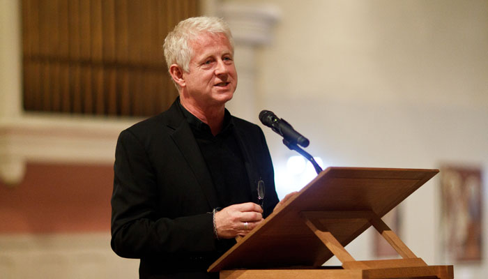 Photograph of Richard Curtis Speaking at Fundraiser London
