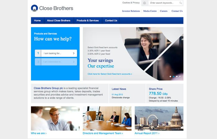 Screen Grab of Close Brothers New Website