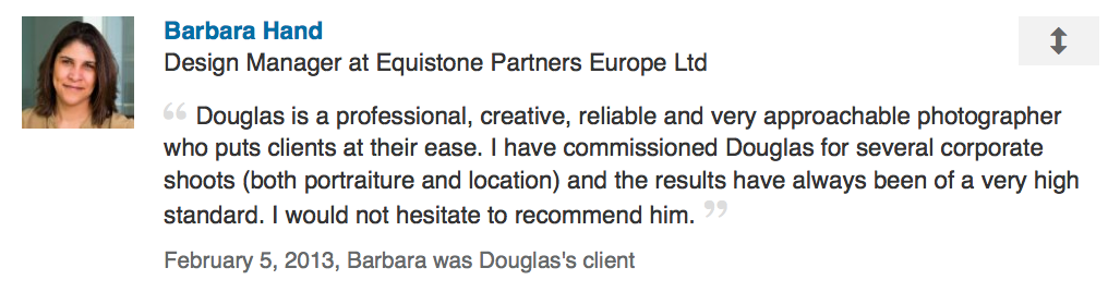 LinkedIn review from design manager at private equity client