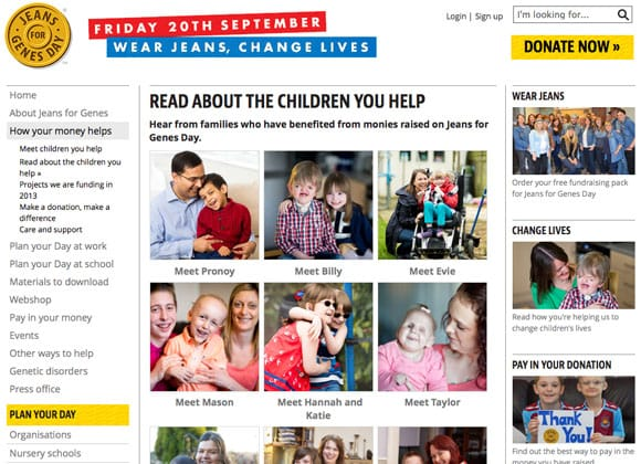 Jeans for Genes Charity Website