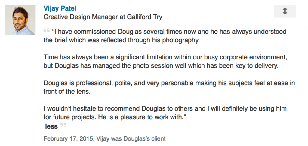 LinkedIn review of photography by Design Manager