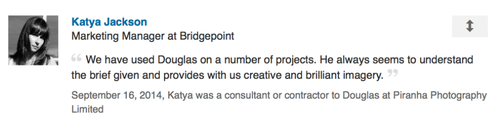 LinkedIn review from markeing manager
