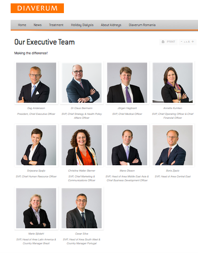 Executive Team on Website