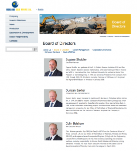 Webpage showing photogrpahs of board of directors
