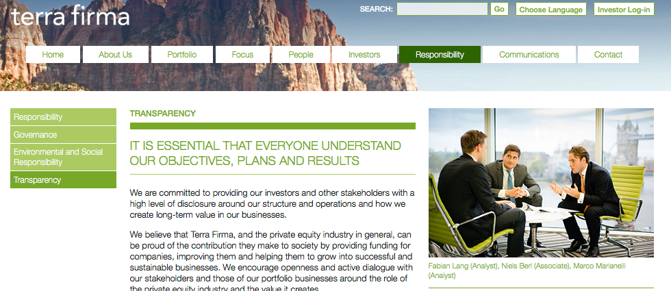 A number of meeting photographs featured on Private Equity company website