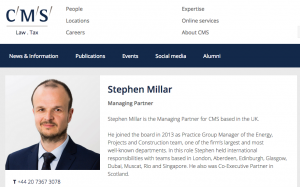Photograph in situ on website of law firm managing partner