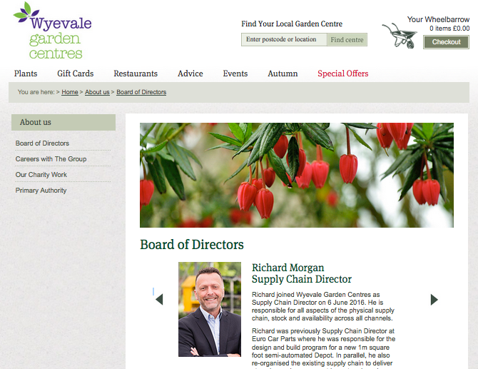 Wyevale website - Board of Directors page showing photographs