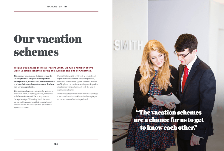Graduate Brochure for Law Firm - 2 people together in conversation