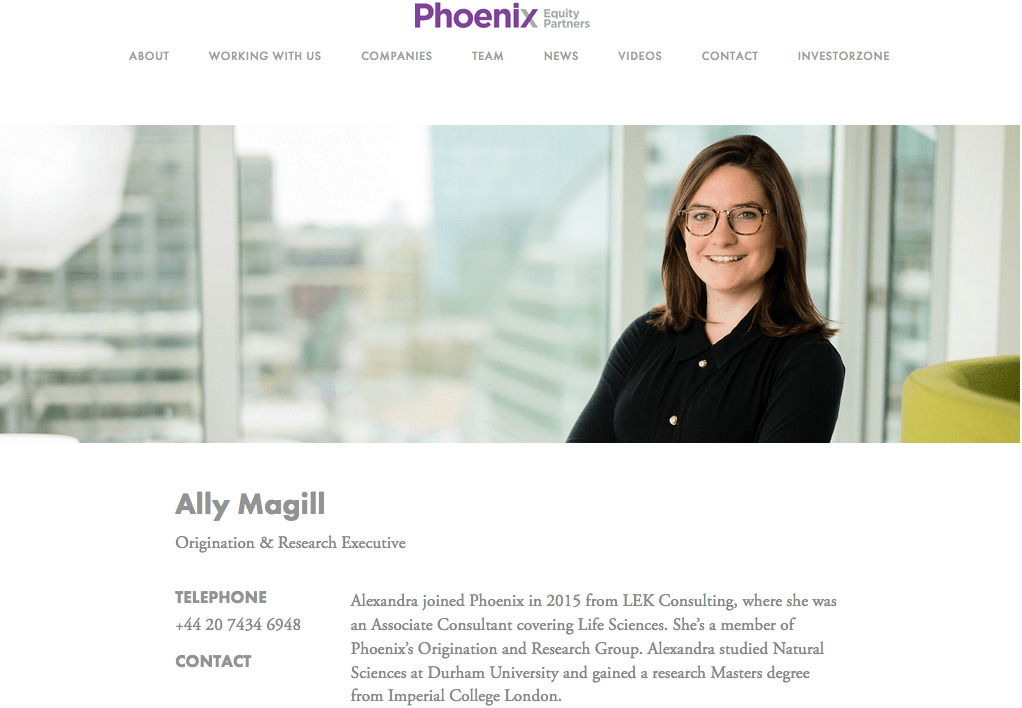 Portrait on Website of Private Equity Company Team Member