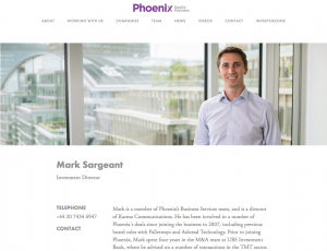 Photography of Employee on Private Equity Company Website