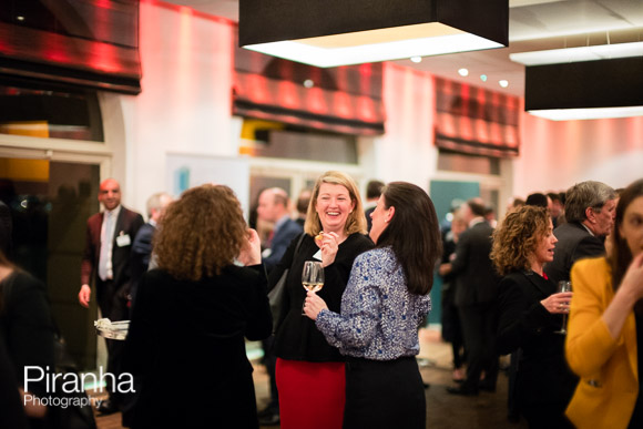 Guests at Glazier Hall during drinks reception