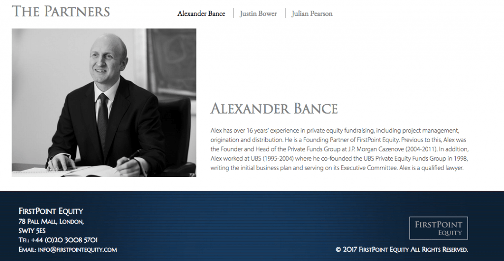 Head shot of partner in Private Equity company offices - black and white image