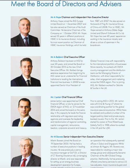 Head shots of board members in printed annual report