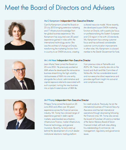 Pages from Annual report showing board photographs in place