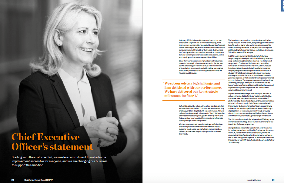 Photography of Chief Executive in Annual report - full page in black and white