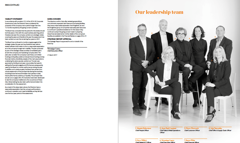 Photograph of leadership team in annual report