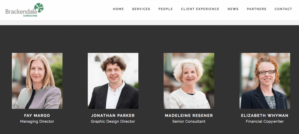 Headshot photographs on client's website page