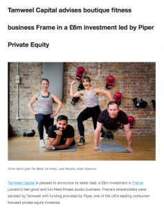 Photography for Private Equity client at Frame fitness featuring the directors in the gymn