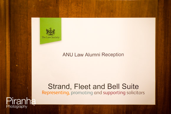 ANU Law Alumni Reception sign
