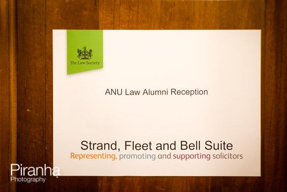 ANU Law Alumni Reception sign