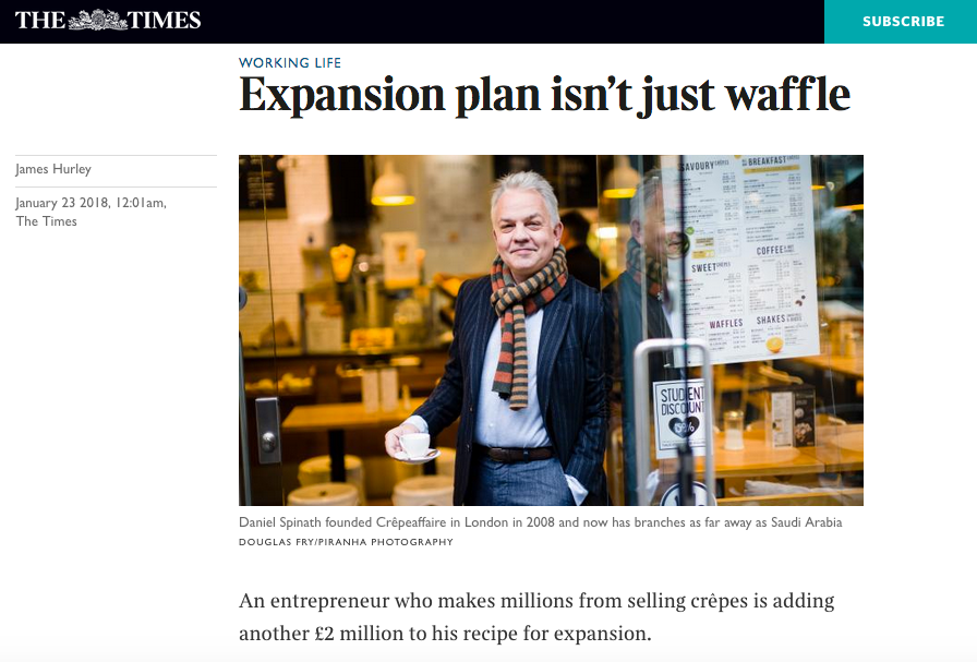 Press article in The Times newsapaper featuring photograph at crepeaffaire cafe in Londonby Piranha