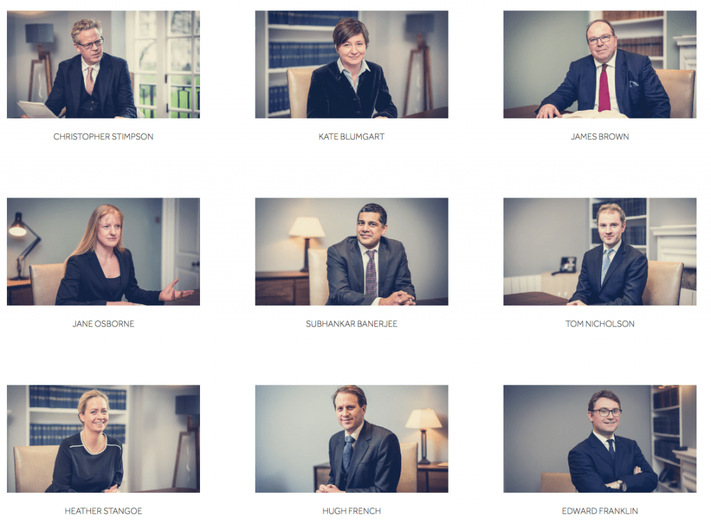 Web page showing barristers photographs taken in London offices