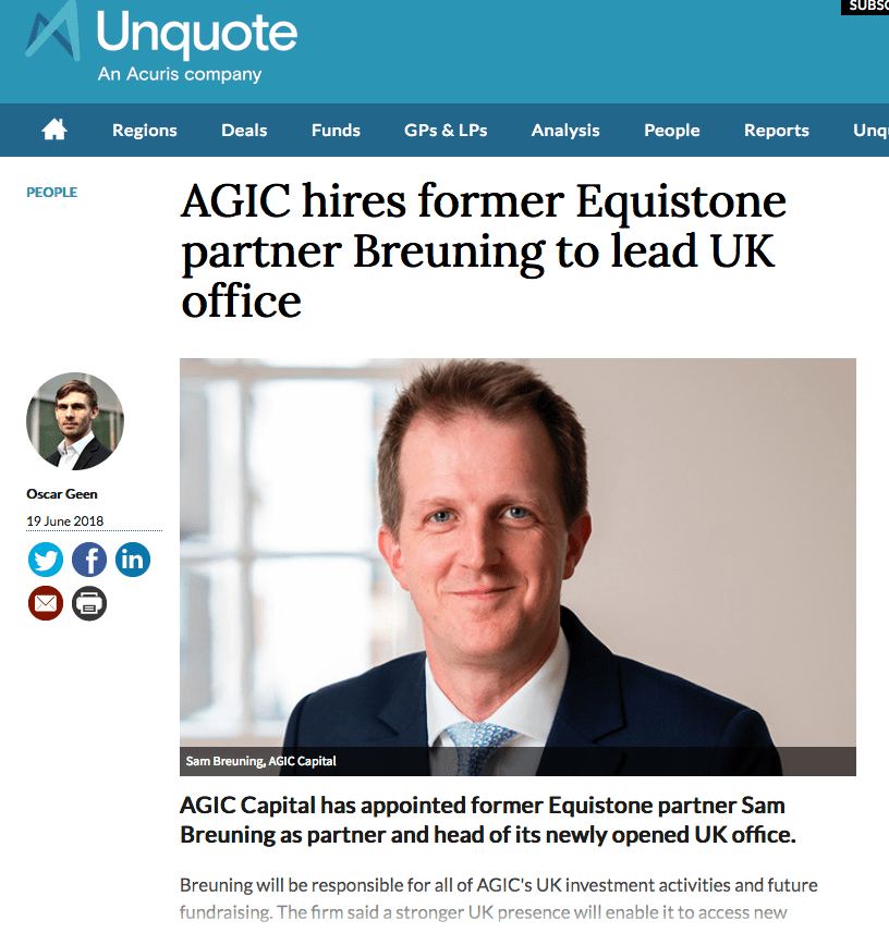 Private Equity Company news article about manager