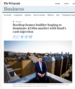 Photograph taken on London roof top for press