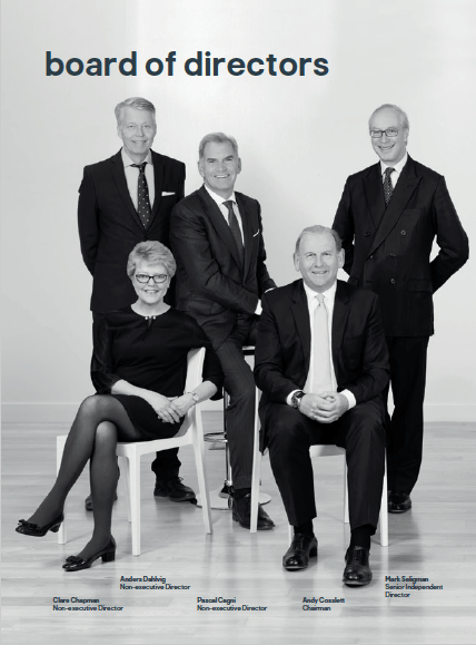 Group photograph of board members together for annual report