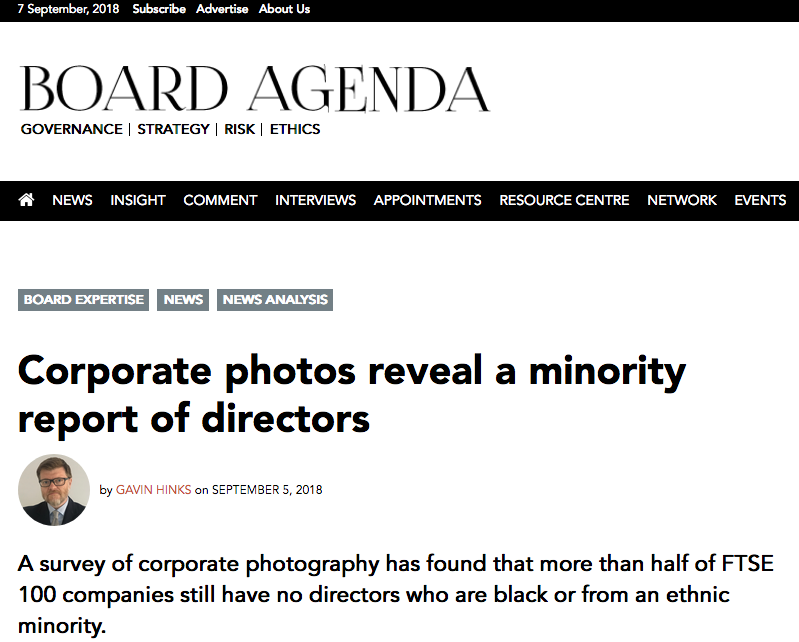 Press Coverage ethnic diversity of UK Company board members