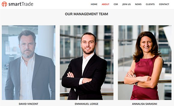 Website screen grab to show 2 of Piranha's photographs of management team members