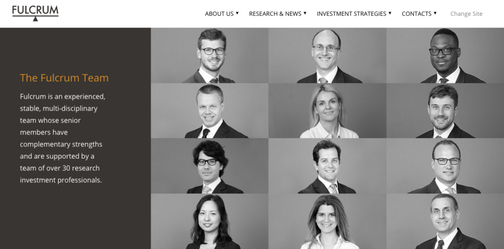 Fulcrum team page showing members in black and white