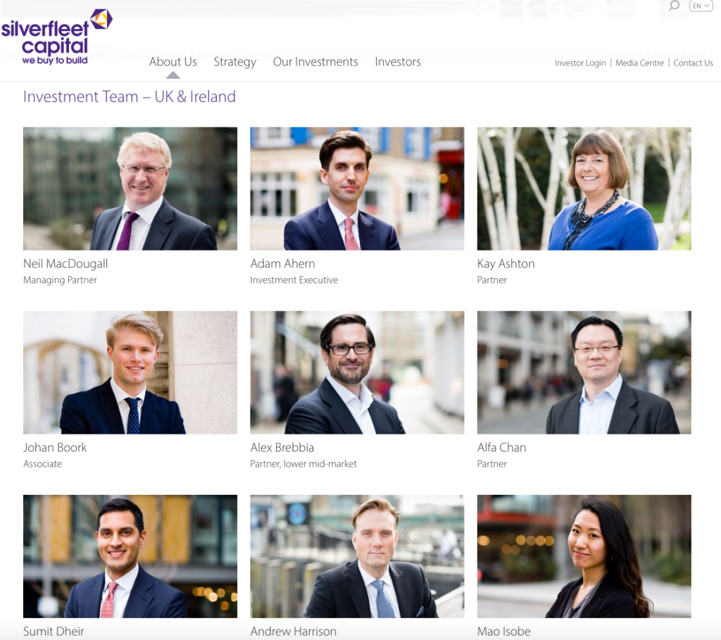 Team page of new private equity company website