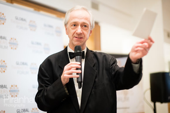 Speaker discussing awards ceremony at British Library - Photograph