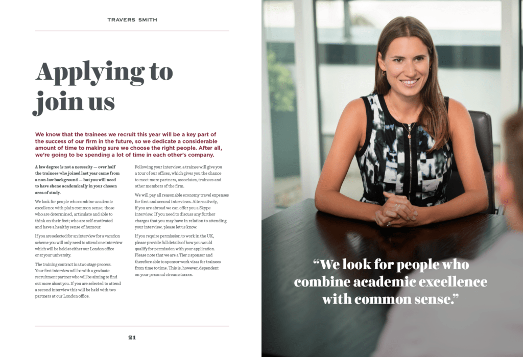 Photography for law firm's graduate recruitment brochure