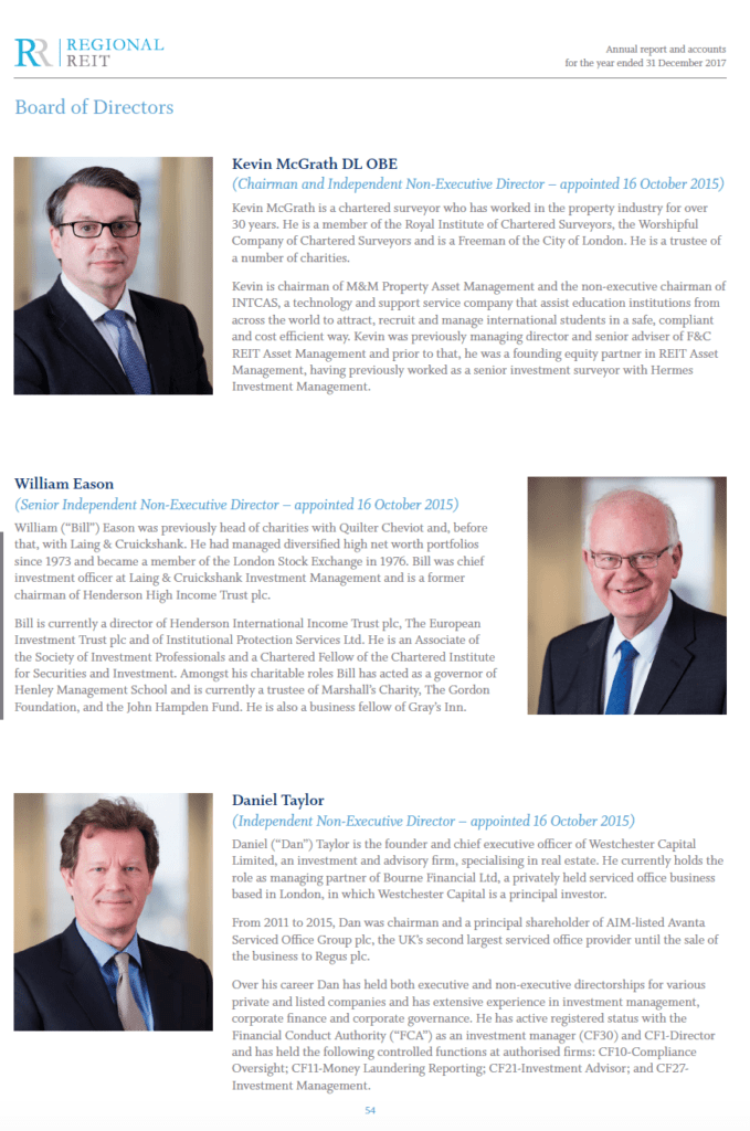 Page from Annual report showing board members