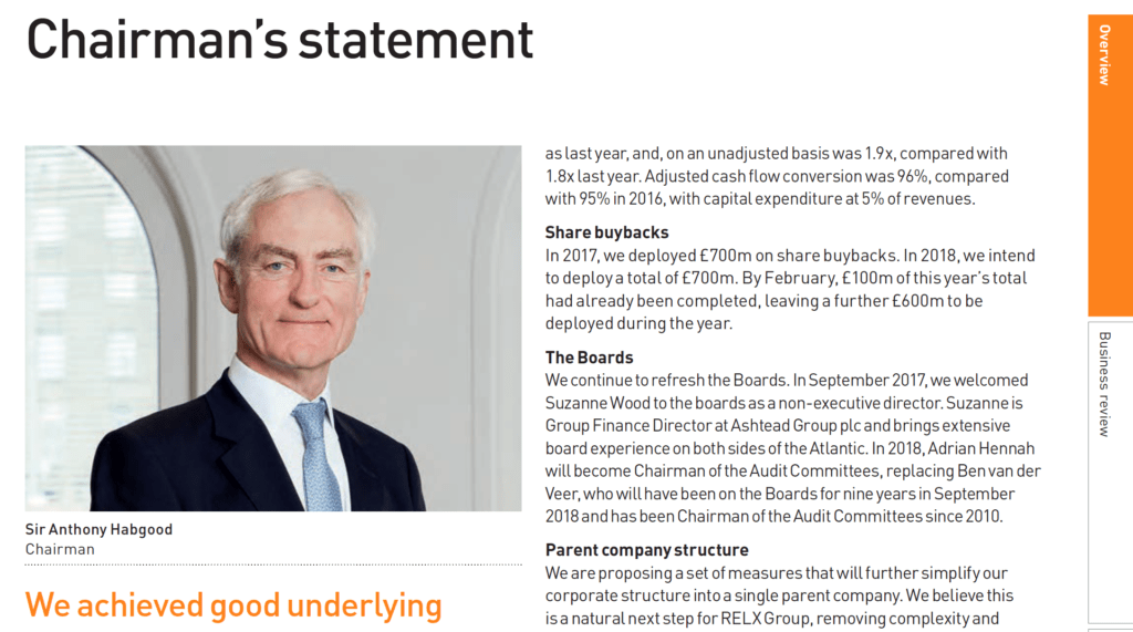 Photograph of Chairman next to his statement in annual report