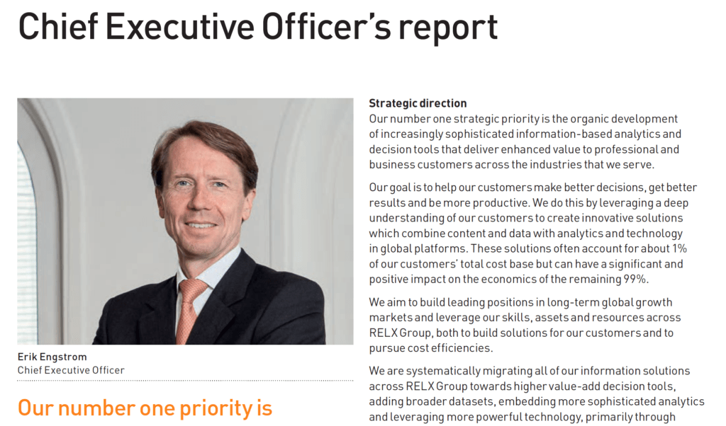 Photograph of CEO in annual report next to statement