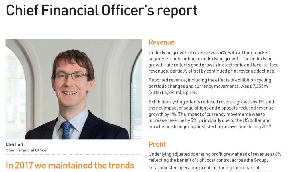 Finance Director's photograph next to statement in Annual Report FTSE100 company