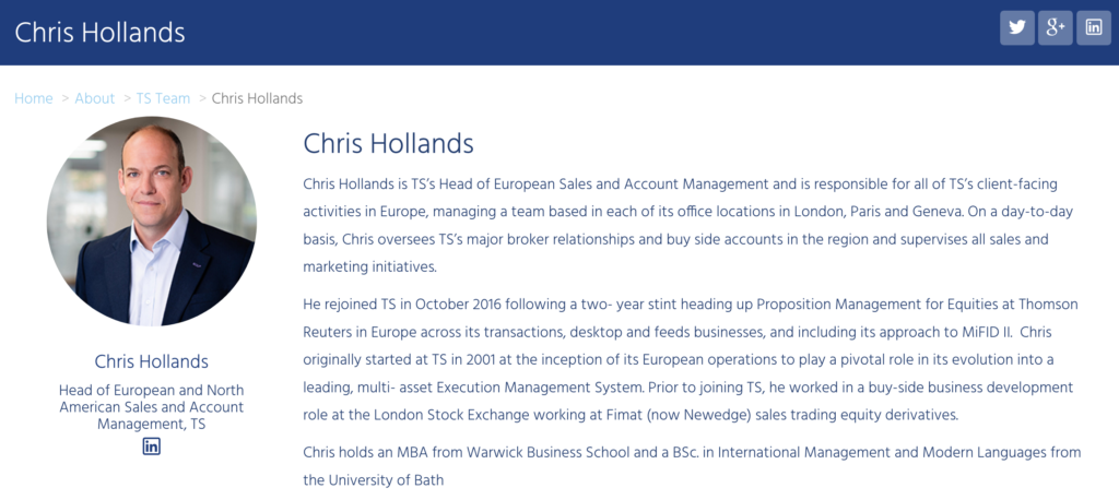 Headshot on corporate website Team page