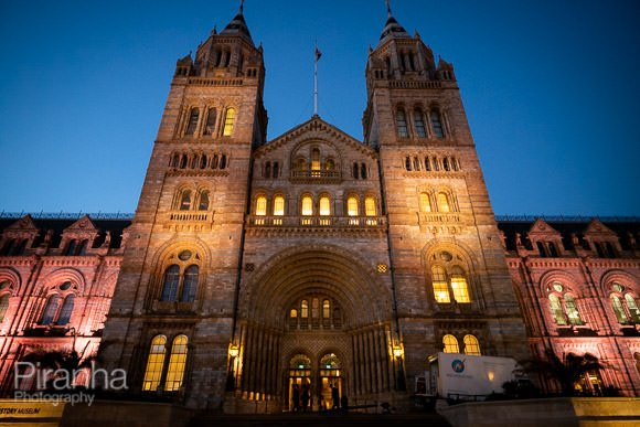 Exterior of Natural History Museum photographed before start of evening event